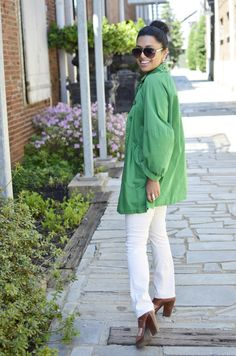 green coat - hello spring :)
