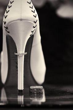 Wedding Rings | Wedding Bands on Bride Shoes | Baseball Themed Wedding | Sacramento, California | Photography For A Reason