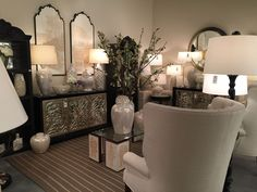 """Some great """"mixed metals"""" from Bradburn Gallery.  #BradburnGallery #chest #tablelamps #mirrors"""