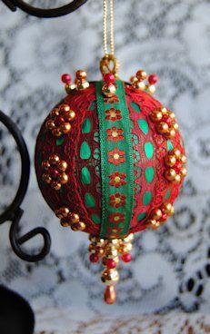 Gold Flower Handmade Beaded Victorian Ornament