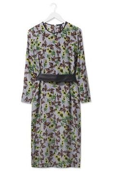 fea63f1930 Falling Leaf Print Silk Midi Dress by Boutique Corporate Outfits