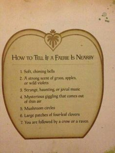 How to tell if a Faerie is nearby...