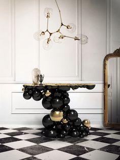 luxuriöse konsole für einzigartig interieur schwarz mit goldenen details von @bocadolobo