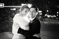 Winter outdoor off camera flash photography downtown Iowa City - Bride and groom portrait