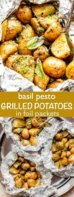 These Basil Pesto Grilled Potatoes in Foil are easy, healthy and full of flavor. You can make this 5-ingredient side dish on the grill, in the oven or over an open fire! #grilledpotatoes #campingfood Potato Side Dishes, Healthy Side Dishes, Vegetable Side Dishes, Side Dish Recipes, Easy Dinner Recipes, Grilling Recipes, Beef Recipes, Cooking Recipes, Healthy Recipes