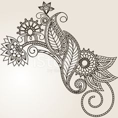 Hand Drawn Abstract Henna Mehndi Flowers and Paisley stock photos ...