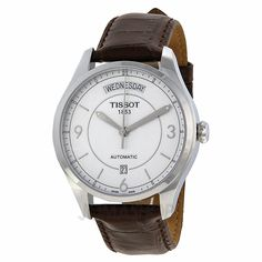 Tissot T-One Automatic Silver Dial Brown Leather Mens Watch T0384301603700