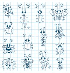 Doodle insects vector 837344 - by Bastetamon on VectorStock®