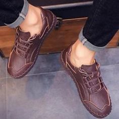 19e13c41b4d Men s Casual Soft Sole Hand Stitching Flat Shoes Formal Shoes
