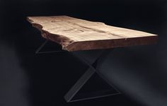 Solid wood table / dining table / tree table glued from one piece of oak wood Wood Crafts Furniture, Teak Furniture, Cool Furniture, Furniture Ideas, Solid Wood Dining Table, Wooden Tables, Resin And Wood Diy, Design Tisch, Tree Table