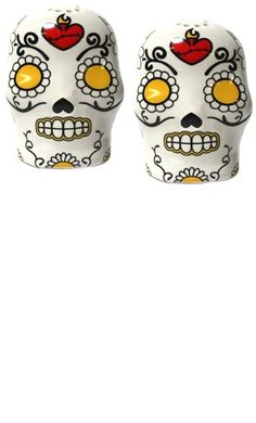 Sugar Skull Salt and Pepper Shakers by Sourpuss Clothing - I NEED! They are a must have in a shabby chic/punk rock kitchen :)