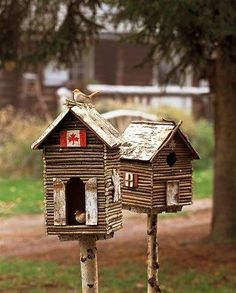 Adorable birdhouses made from small sticks. Then put on a branch from a willow tree, with the Canadadian flag at the top.