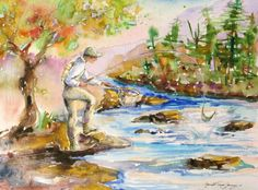 Fishing Original watercolor painting river stream fly fishing