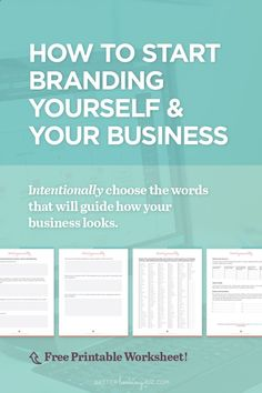 How to Start Branding Yourself and Your Business by Better Looking Biz. You know you need a brand and you aren't sure where to start? Or maybe you need to consolidate and refresh your existing brand? These branding tips   worksheet will help you create a solid foundation that you can use to guide everything you create. Download the brand personality worksheet. It's free!