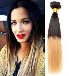 Hot 3Bundles Ombre Human Hair Brazilian Hair Extension Straight 1B/27# For Head #wigiss #HairExtension