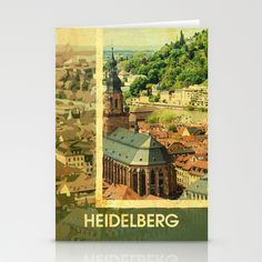 Retro Heidelberg Skyline Stationery Card  Shop:  https://society6.com/product/retro-heidelberg-skyline_cards#16=71  Design by Andras Balogh