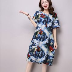 Find More Dresses Information about 2016 New Vintage Fashion Summer Dress Landscape Print Plus Size XXL Loose Dress Women Short Sleeve Cotton Linen Dress Vestidos ,High Quality dress teal,China dress elmo Suppliers, Cheap dress origami from HMG on Aliexpress.com