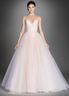 Sherbet tulle bridal ball gown, strapless sweetheart neckline, ruched bodice accented with floral embroidery and Chantilly lace underlay, chapel train.