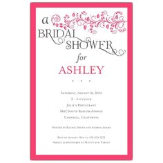 Vine Hot Pink Bridal Shower Invitations