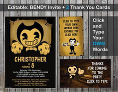 Bendy and the ink machine invitation. Bendy - Invite / Invitation and 2 Thank you card - editable PDF file. TAGS for bags also. Bendy and the ink machine birthday invitation / invite. Thanks you cards. click and type your own words. Circus Birthday, 7th Birthday, Birthday Ideas, Party Bags, I Party, Party Ideas, Invitation Cards, Invite, Bendy And The Ink Machine