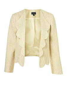 TOPSHOP Scallop Edge Boucle Jacket......I like the scallops with this type of fabric. It looks very unique.