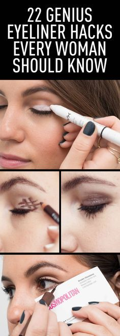 Never let your winged liner make you late for work again. make up hacks 22 Genius Eyeliner Hacks Every Woman Needs to Know Eyeliner Hacks, How To Apply Eyeliner, Eyeliner Liquid, Eyeliner Wing, Eyeliner Styles, Eyeliner Pencil, Liquid Liner, Natural Eyeliner, Monolid Eyeliner
