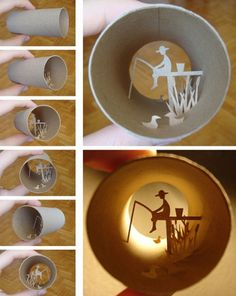 Miniature art on toilet paper rolls by a gifted French artist.