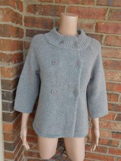 TALBOTS Petite Women Cardigan Size M Wool Blend Double Breast Sweater Top Gray #Talbots #Cardigan