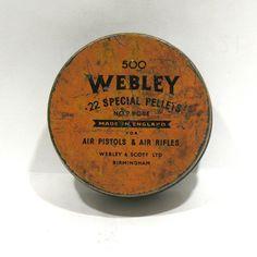 Webley Pellets Tin - 500 Special Air Pellets -Round Orange Tin - Militaria- Air Guns Pistols Rifles -Webley Scott Ltd Birmingham England