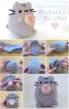 Sewing Gifts For Kids Adorable pusheen softee tutorial - sew cute! Diy Sock Toys, Sock Crafts, Diy Crafts To Sell, Diy Crafts For Kids, Fabric Crafts, Diy Craft Projects, Sewing Projects, Sewing Toys, Sewing Crafts
