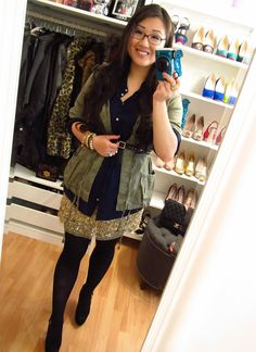 LOVE...olive jacet, navy shirt, sequin skirt!  COCOBELLA BALLERINA