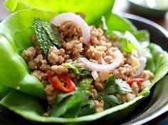 Pork larb lettuce wrap, or Laotian ground pork salad. Pork Salad, Meat Salad, Pork Lettuce Wraps, Lettuce Wrap Recipes, Pork Larb, Easy Asian Recipes, Ethnic Recipes, Pork Recipes, Cooking Recipes