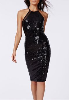 $34.99 | Black Sequined Sleeveless Midi Dress with Mesh Insert