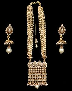 Long Rani Haar Necklace Earrings Pearls CZ Indian American Fashion Jewelry