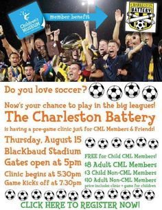 Soccer with the Stars!!  Join the Charleston Battery soccer team for a pre-game clinic on Thursday, August 15, 2013.  Get more information on Charleston Battery Soccer in this pin!