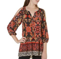 Cold Shoulder Boho Tunic M MY MICHELLE Floral Print Ruffle Hem 3/4 Slv Top NWT #MyMichelle #Tunic #Casual