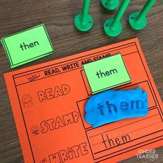 Sight word activity - read, write and stamp sight words Teaching Sight Words, Sight Word Games, Sight Word Activities, Teaching Math, Teaching Resources, Kindergarten Special Education, Kindergarten Lessons, Kindergarten Classroom, Classroom Decor