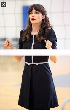Zooey Deschanel's Navy bow-front dress on New Girl.  Outfit Details: http://wwzdw.com/z/4577/ #WWZDW