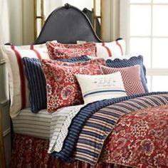 RALPH LAUREN VILLA MARTINE RED/BLUE FLORAL FULL/QUEEN COMFORTER ~ SHIP NEXT DAY
