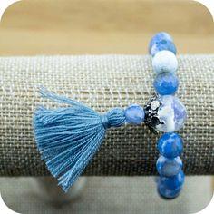 Faceted Sky Blue Fire Agate Wrist Mala Bracelet with Opalite