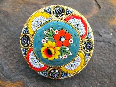 Micro Mosaic Brooch Italy Flowers Teal Yellow by ToadSuckTreasures