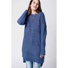 blue knit longline oversize sweater with boat neck and side split