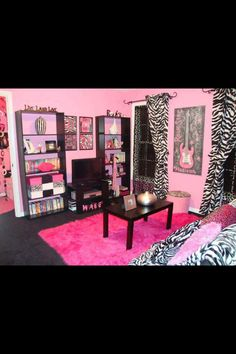Pink and zebra themed bedroom