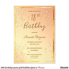 Shop birthday party gold bubbles glam invitation postcard created by Thunes. Bubble Birthday, 18th Birthday Party, Sweet 16 Birthday, Gold Birthday, Birthday Party Invitations, Birthday Cards, Gold Invitations, Elegant Invitations, Sweet Sixteen