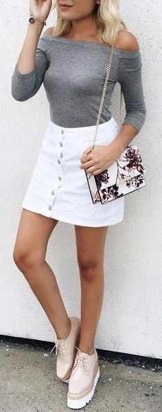 White Button up skirt.
