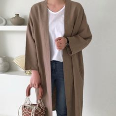 3Colors Linen long cardigan with pockets / Linen long jacket / Linen robe / Linen robe with pockets / Minimalist linen clothing