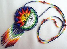 Mexican Huichol Sun and Moon Eclipse Necklace от Aramara на Etsy