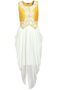 White drape dress with yellow jacket available only at Pernia's Pop-Up Shop.