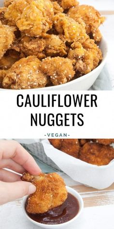 These Breaded & Fried Cauliflower Nuggets are the perfect game day snack! Even when you're not into sports, you'll love these crispy nuggets. - - These Breaded & Fried Cauliflower Nuggets are the perfect game day snack! Tasty Vegetarian Recipes, Vegan Dinner Recipes, Veggie Recipes, Cooking Recipes, Healthy Recipes, Vegan Vegetarian, Vegetarian Nuggets, Vegan Ramen, Veggie Nuggets
