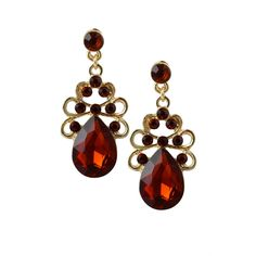 Kona Rhinestone Lattice Gem Dangle Statement Earrings